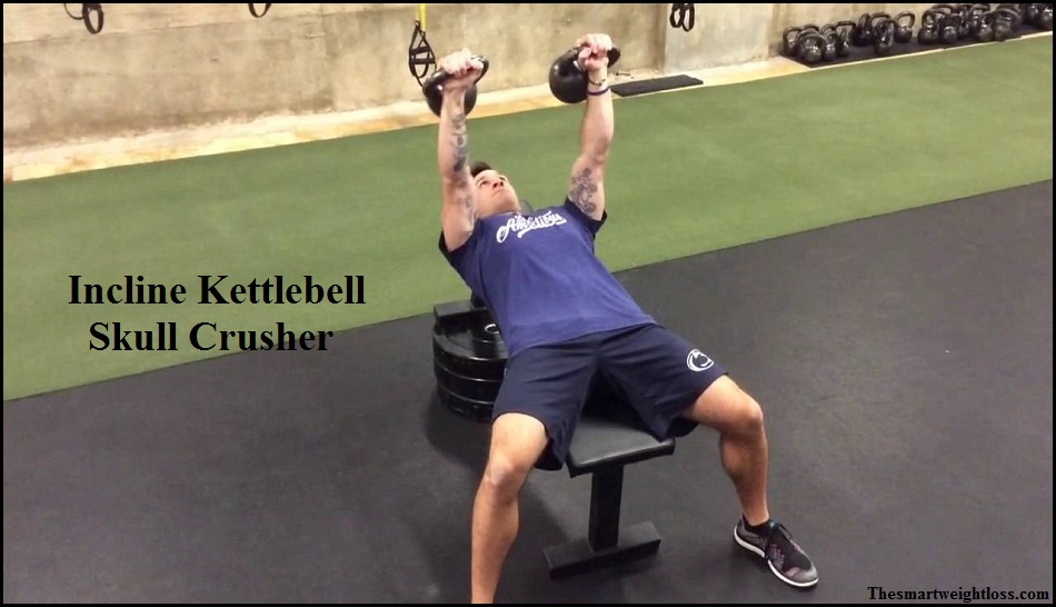 Incline Kettlebell Skull Crusher